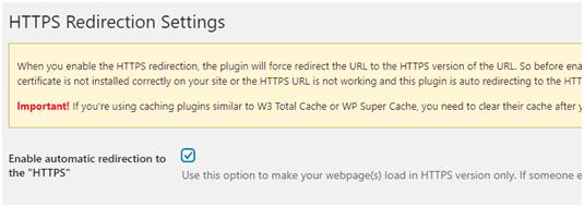 https redirection settings