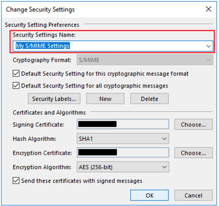 change security settings
