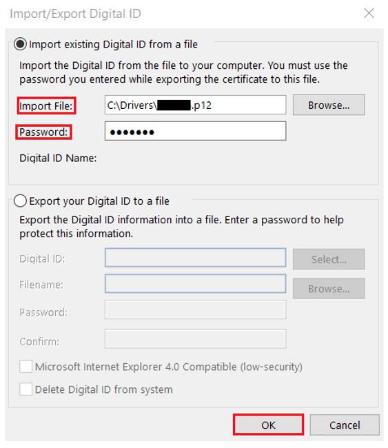 import security profile